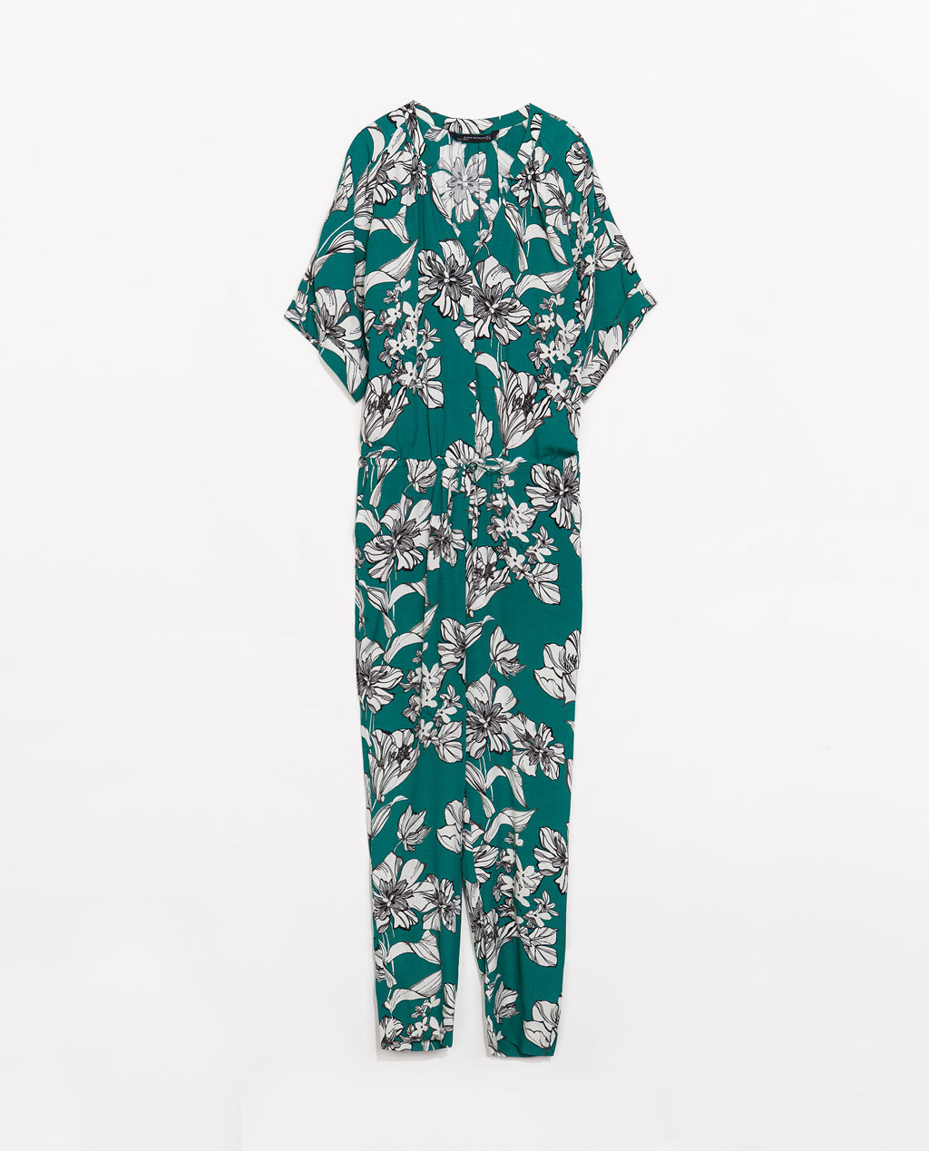 Long Printed Jumpsuit - length: standard; neckline: low v-neck; sleeve style: dolman/batwing; fit: loose; predominant colour: emerald green; occasions: casual, holiday; fibres: viscose/rayon - 100%; sleeve length: short sleeve; style: jumpsuit; pattern type: knitted - big stitch; pattern size: big & busy; pattern: florals; texture group: other - light to midweight; trends: furious florals; season: s/s 2014