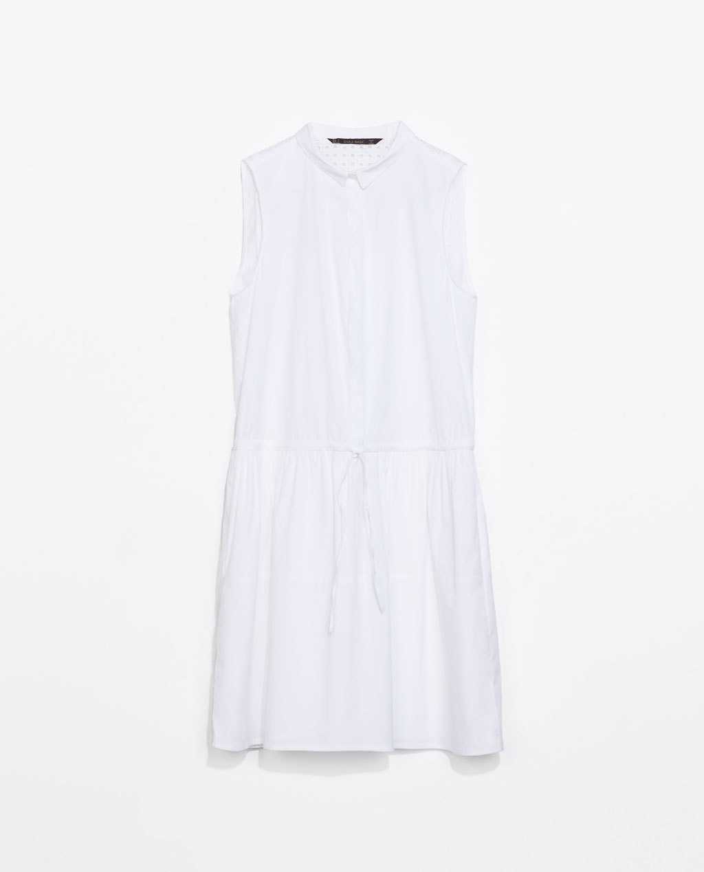 Dress With Cut Out Back - style: shirt; length: mid thigh; neckline: shirt collar/peter pan/zip with opening; fit: fitted at waist; pattern: plain; sleeve style: sleeveless; predominant colour: white; occasions: casual, holiday; fibres: cotton - 100%; sleeve length: sleeveless; texture group: cotton feel fabrics; hip detail: ruffles/tiers/tie detail at hip; pattern type: fabric; season: s/s 2014
