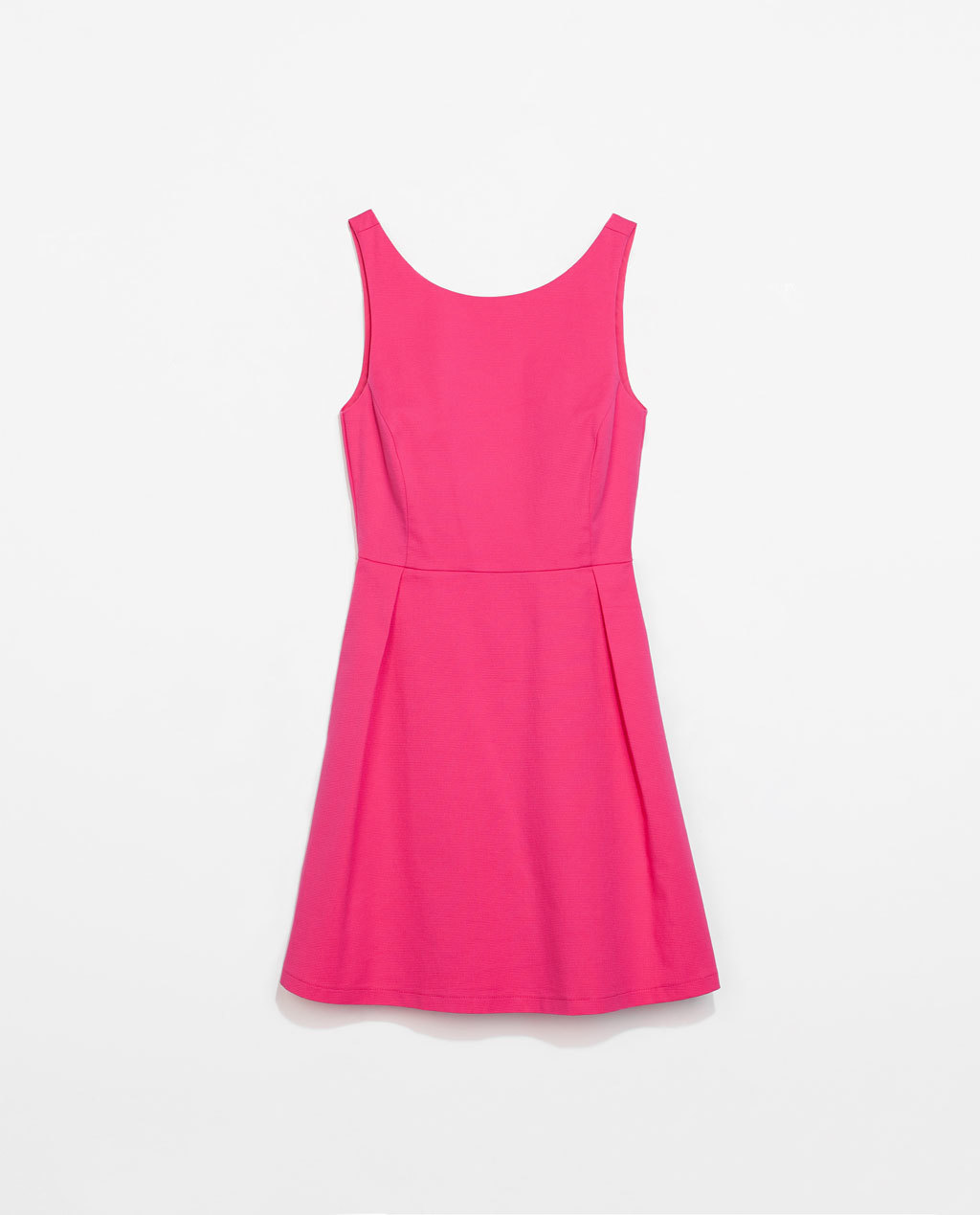 Pleated Dress - length: mid thigh; neckline: round neck; pattern: plain; sleeve style: sleeveless; back detail: back revealing; predominant colour: hot pink; occasions: casual, holiday, creative work; fit: fitted at waist & bust; style: fit & flare; fibres: cotton - stretch; hip detail: adds bulk at the hips; sleeve length: sleeveless; pattern type: fabric; texture group: other - light to midweight; trends: hot brights; season: s/s 2014