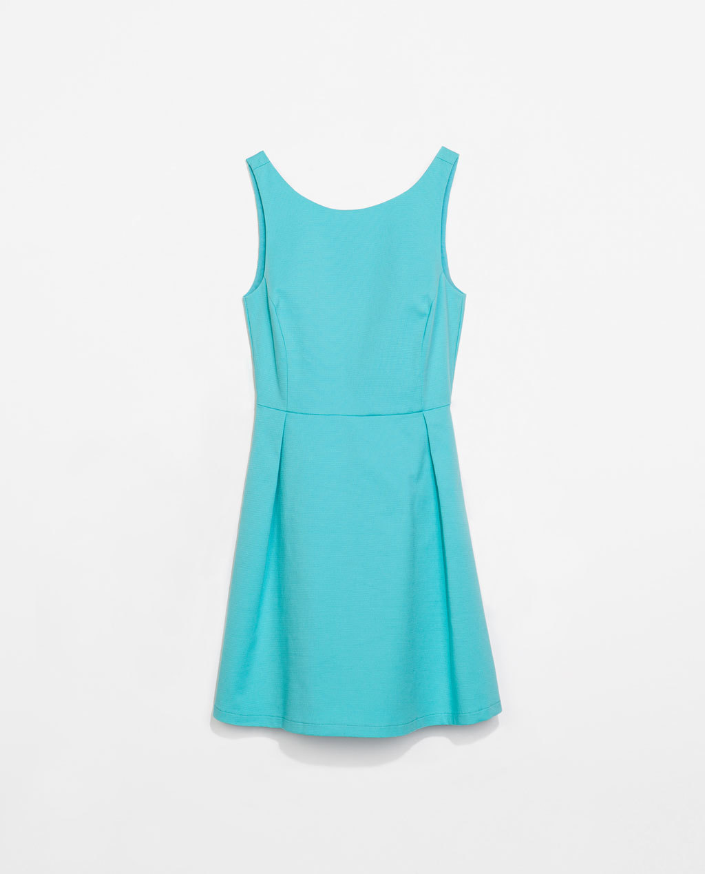 Pleated Dress - length: mid thigh; neckline: round neck; pattern: plain; sleeve style: sleeveless; back detail: back revealing; predominant colour: turquoise; occasions: casual, holiday, creative work; fit: fitted at waist & bust; style: fit & flare; fibres: cotton - stretch; hip detail: adds bulk at the hips; sleeve length: sleeveless; pattern type: fabric; texture group: other - light to midweight; trends: hot brights; season: s/s 2014