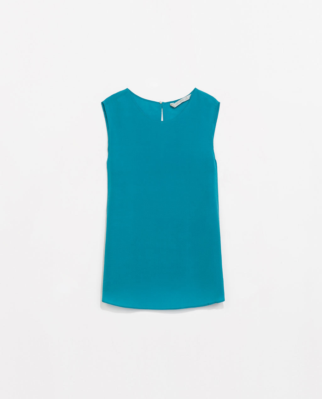 Flowy Silk Top - pattern: plain; sleeve style: sleeveless; predominant colour: teal; occasions: casual, work, creative work; length: standard; style: top; fibres: silk - 100%; fit: straight cut; neckline: crew; sleeve length: sleeveless; texture group: crepes; pattern type: fabric; trends: hot brights; season: s/s 2014