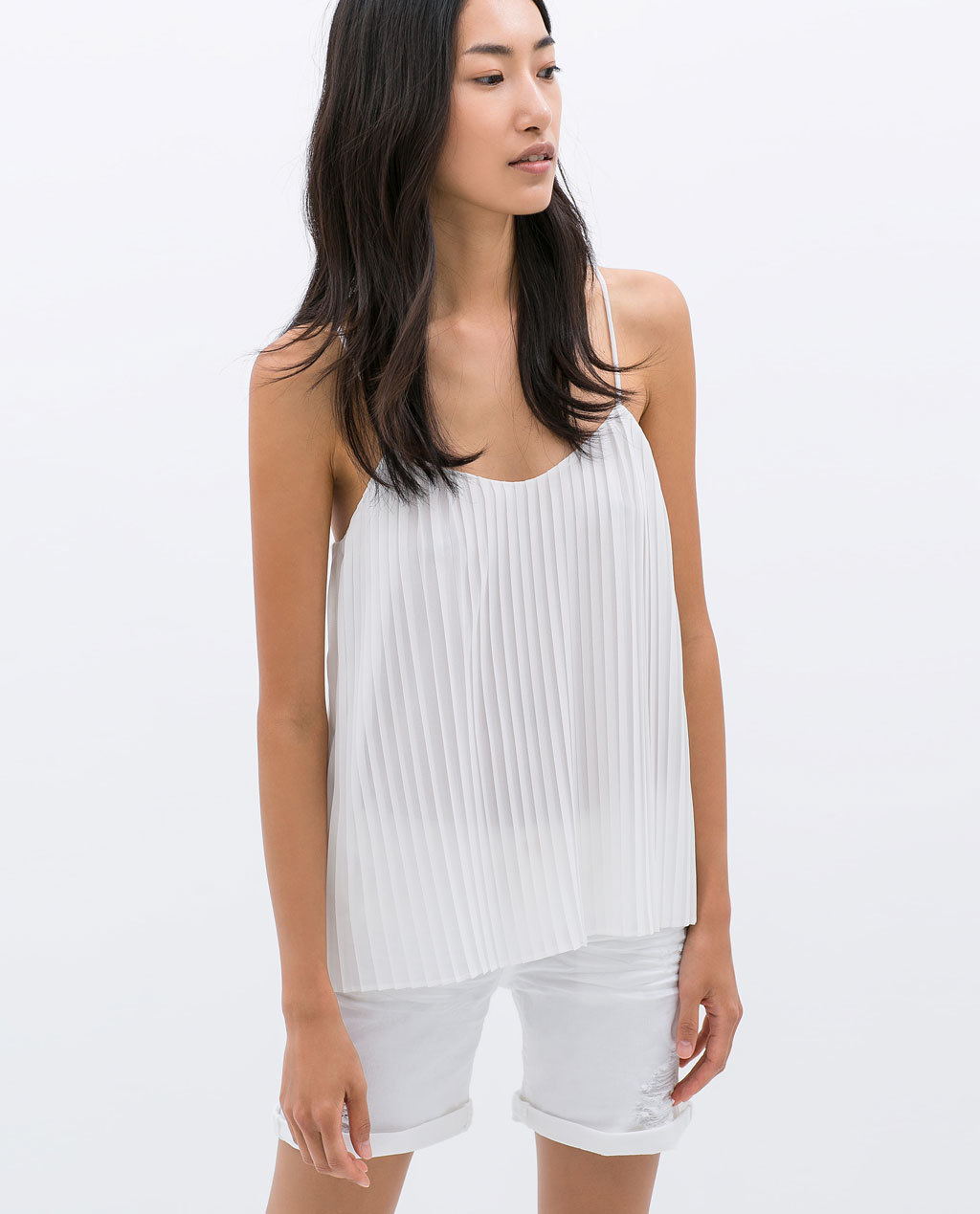 Pleated Top - sleeve style: spaghetti straps; pattern: plain; style: camisole; predominant colour: ivory/cream; occasions: casual, evening, holiday, creative work; length: standard; neckline: scoop; fibres: polyester/polyamide - 100%; fit: loose; sleeve length: sleeveless; texture group: sheer fabrics/chiffon/organza etc.; bust detail: tiers/frills/bulky drapes/pleats; pattern type: fabric; season: s/s 2014