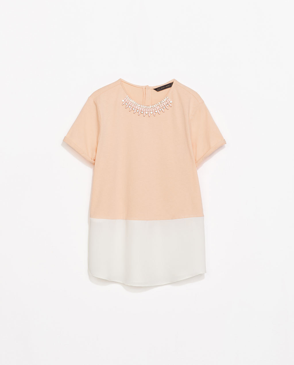 Combined Top With Necklace - neckline: round neck; style: t-shirt; secondary colour: ivory/cream; predominant colour: nude; occasions: casual, creative work; length: standard; fibres: cotton - 100%; fit: straight cut; sleeve length: short sleeve; sleeve style: standard; pattern type: fabric; pattern size: standard; pattern: colourblock; texture group: jersey - stretchy/drapey; embellishment: jewels/stone; season: s/s 2014; wardrobe: highlight; embellishment location: neck