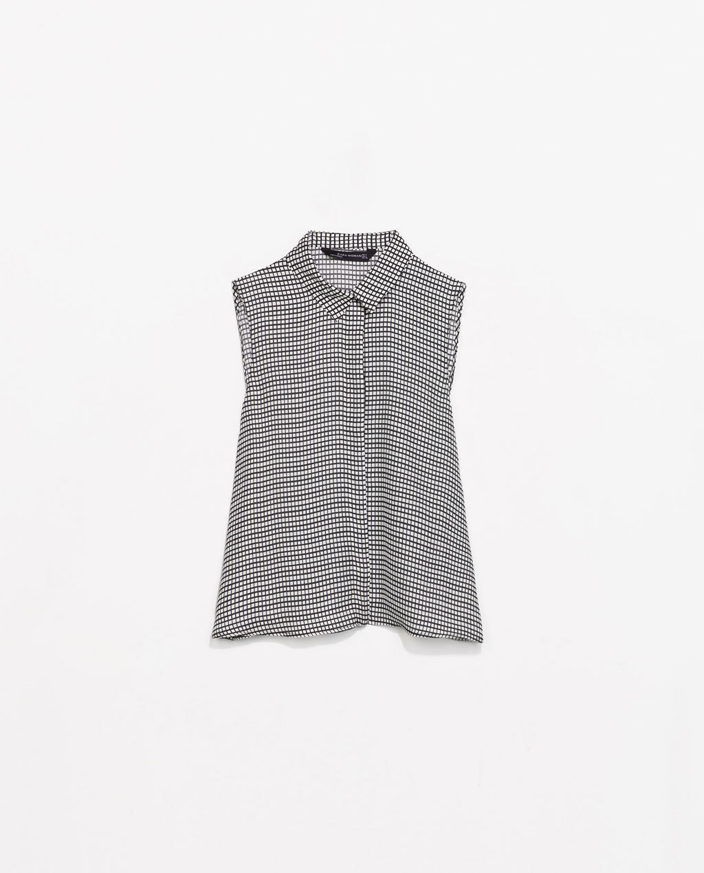 Printed Shirt With Collar - neckline: shirt collar/peter pan/zip with opening; sleeve style: sleeveless; pattern: checked/gingham; style: shirt; secondary colour: ivory/cream; predominant colour: black; occasions: casual, creative work; length: standard; fibres: polyester/polyamide - 100%; fit: straight cut; sleeve length: sleeveless; pattern type: fabric; pattern size: standard; texture group: other - light to midweight; season: s/s 2014; trends: monochrome