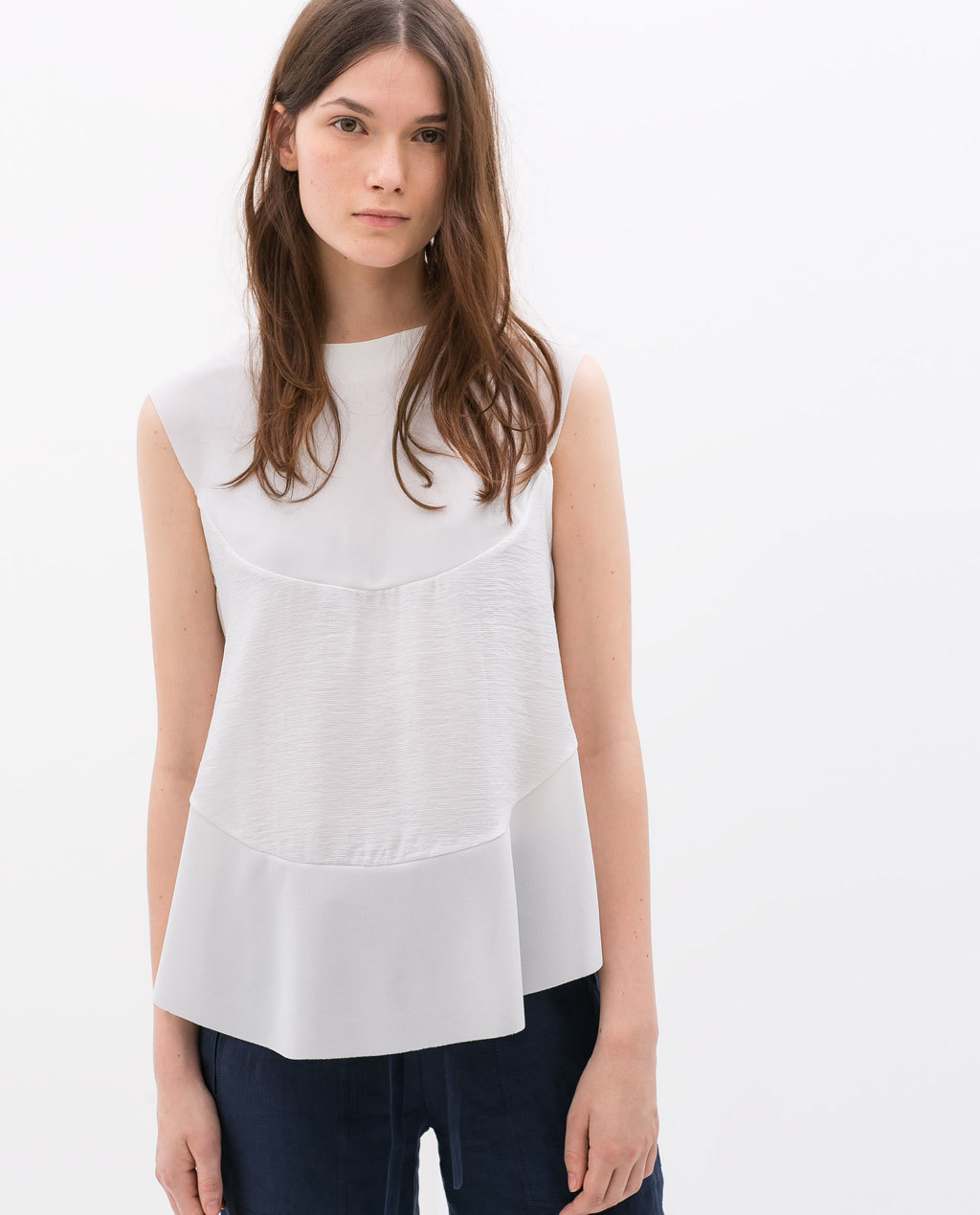 Combined Top With Slits - pattern: plain; sleeve style: sleeveless; predominant colour: ivory/cream; occasions: casual, creative work; length: standard; style: top; fibres: polyester/polyamide - 100%; fit: loose; neckline: crew; sleeve length: sleeveless; pattern type: fabric; texture group: other - light to midweight; season: s/s 2014
