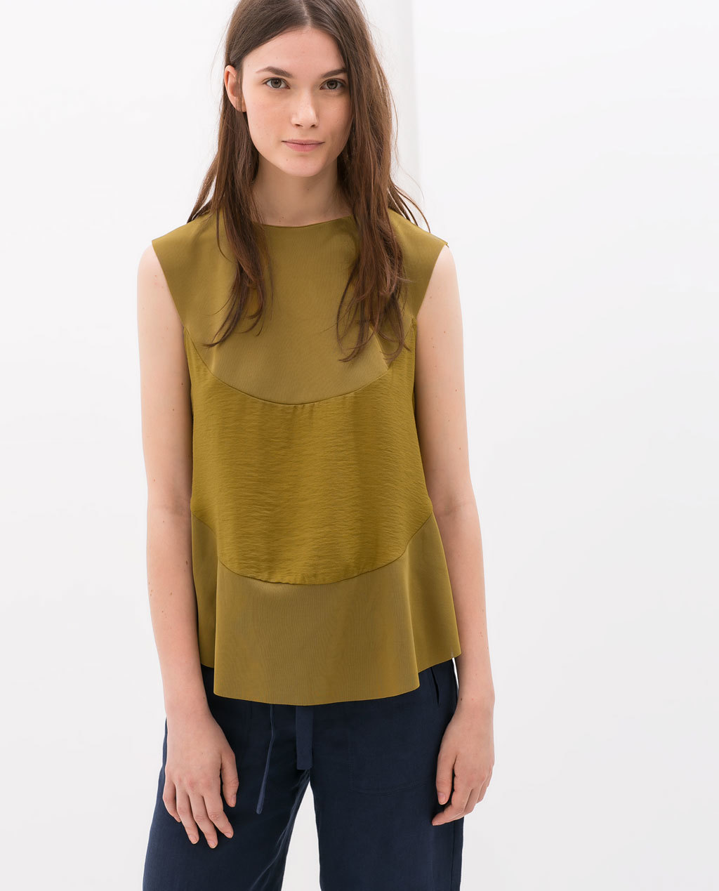 Combined Top With Slits - pattern: plain; sleeve style: sleeveless; predominant colour: khaki; occasions: casual; length: standard; style: top; fibres: polyester/polyamide - 100%; fit: loose; neckline: crew; sleeve length: sleeveless; pattern type: fabric; texture group: other - light to midweight; season: s/s 2014