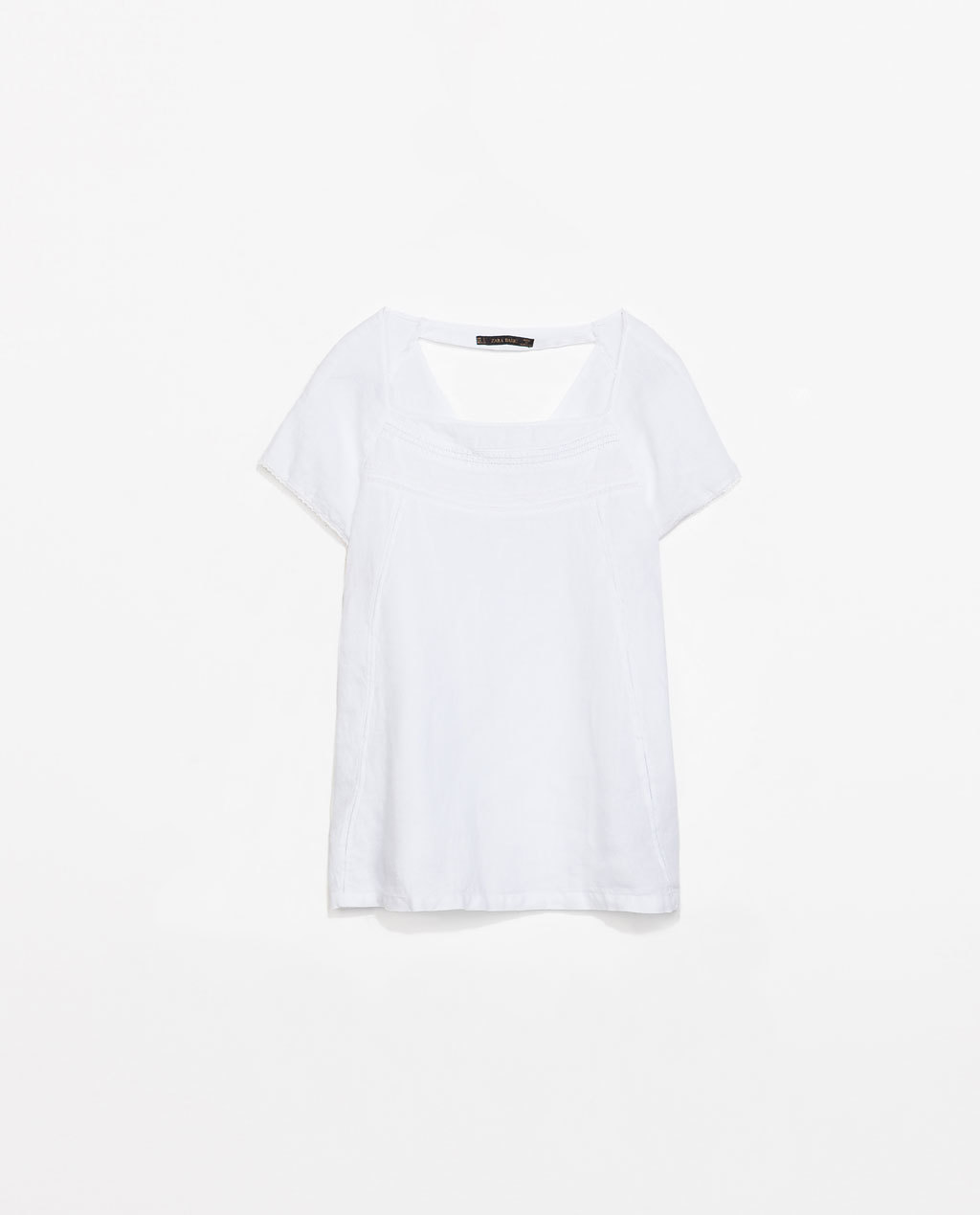 Short Sleeve Linen Top - pattern: plain; predominant colour: white; occasions: casual, holiday; length: standard; style: top; fibres: linen - 100%; fit: straight cut; sleeve length: short sleeve; sleeve style: standard; texture group: linen; neckline: medium square neck; pattern type: fabric; embellishment: embroidered; season: s/s 2014