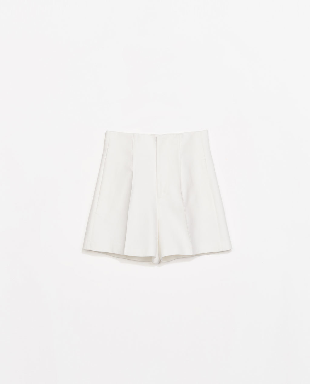High Waist Structured Shorts - pattern: plain; waist: high rise; predominant colour: ivory/cream; occasions: casual, evening, creative work; fibres: cotton - mix; texture group: cotton feel fabrics; pattern type: fabric; season: s/s 2014; style: shorts; length: short shorts