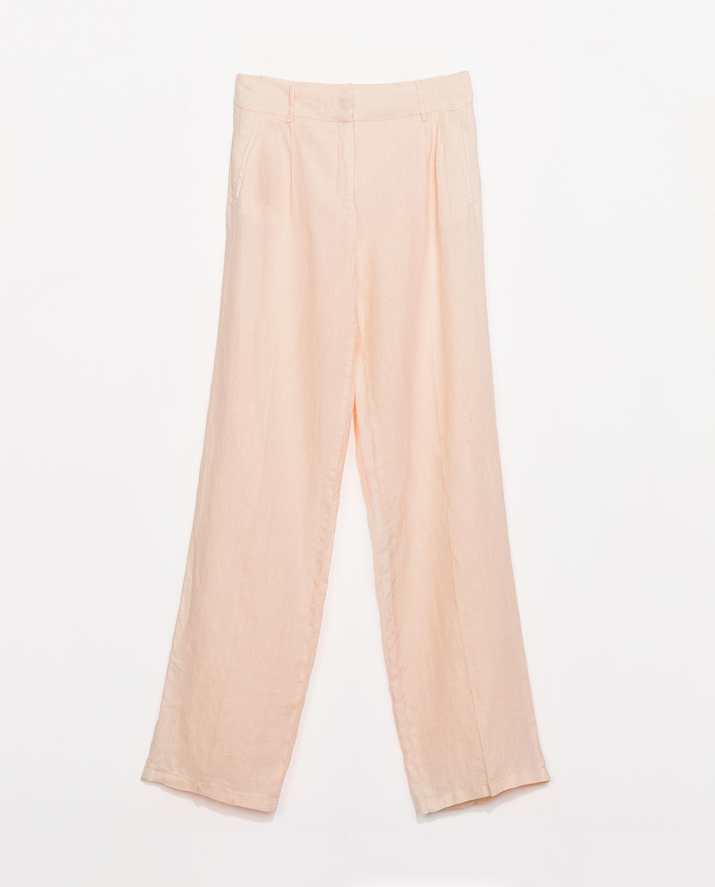 Linen Trousers With Front Pleat - length: standard; pattern: plain; waist: mid/regular rise; predominant colour: nude; occasions: casual, occasion, holiday, creative work; fibres: linen - 100%; texture group: linen; fit: wide leg; pattern type: fabric; style: standard; season: s/s 2014