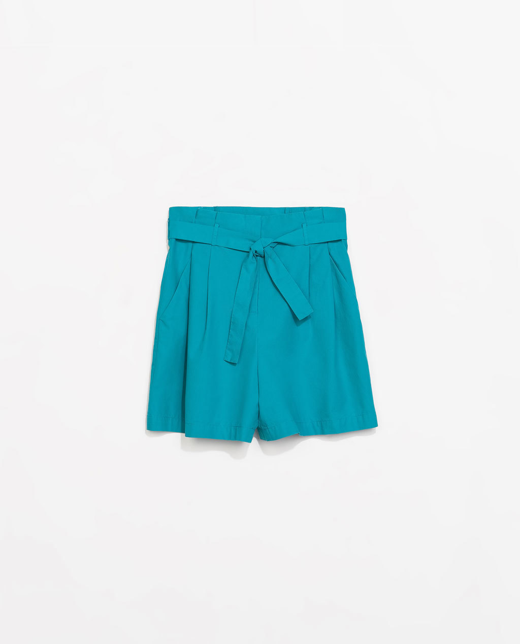 Pleated Shorts - pattern: plain; waist: high rise; waist detail: belted waist/tie at waist/drawstring; predominant colour: turquoise; occasions: casual, holiday; fibres: cotton - 100%; hip detail: front pleats at hip level; texture group: cotton feel fabrics; pattern type: fabric; season: s/s 2014; style: shorts; length: mid thigh shorts