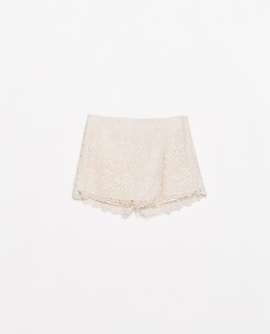 Guipure Layer Shorts - length: mini; fit: tailored/fitted; style: skorts; waist: mid/regular rise; predominant colour: ivory/cream; occasions: casual, evening, holiday, creative work; fibres: cotton - mix; texture group: lace; pattern type: fabric; pattern: patterned/print; trends: lace; season: s/s 2014