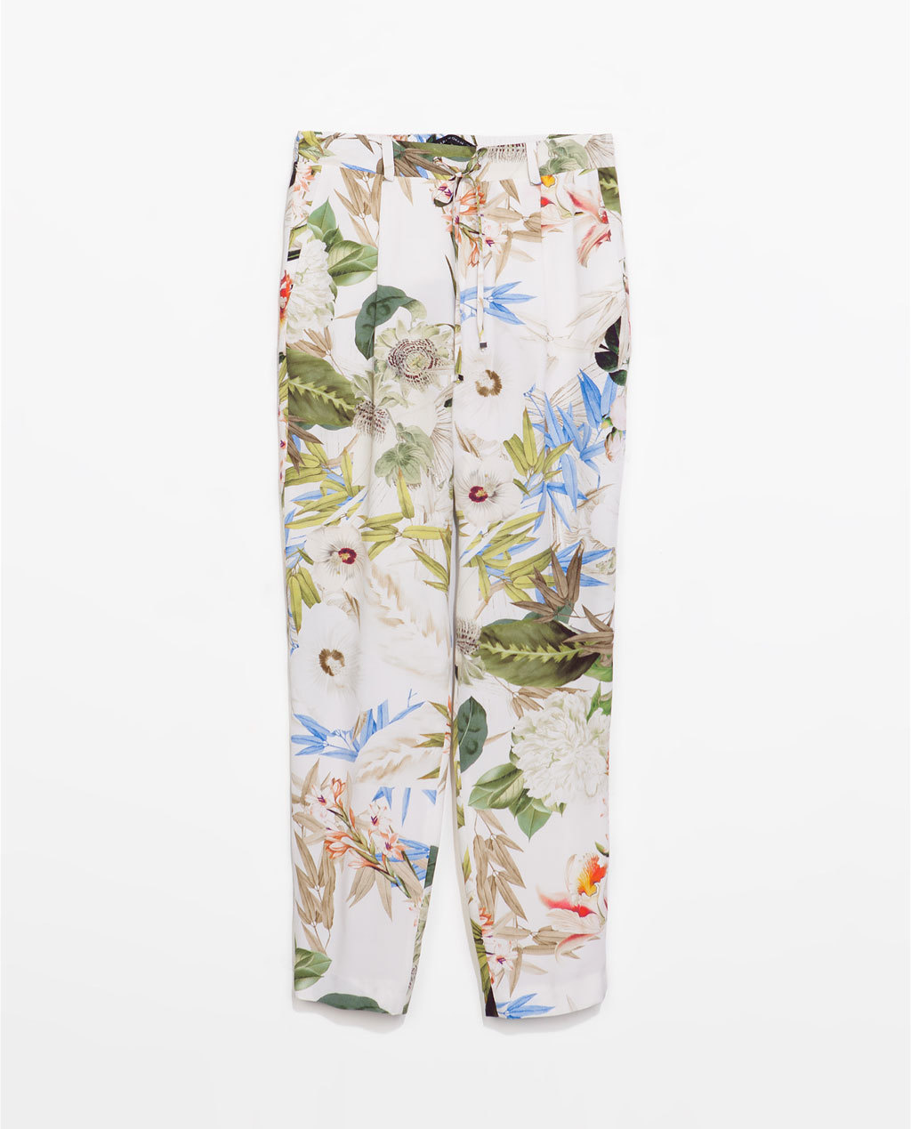 Flower Print Trousers - style: peg leg; waist: mid/regular rise; occasions: casual, creative work; length: ankle length; fibres: viscose/rayon - 100%; predominant colour: multicoloured; fit: tapered; pattern type: fabric; pattern: florals; texture group: other - light to midweight; trends: furious florals; season: s/s 2014; pattern size: big & busy (bottom); multicoloured: multicoloured