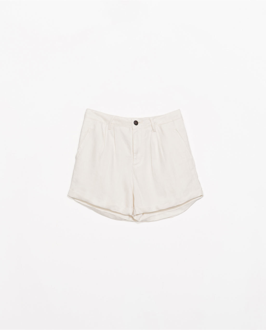 Jacquard Bermudas - pattern: plain; waist: mid/regular rise; predominant colour: ivory/cream; occasions: casual, holiday, creative work; fibres: linen - mix; pattern type: fabric; texture group: brocade/jacquard; season: s/s 2014; style: shorts; length: short shorts; fit: slim leg