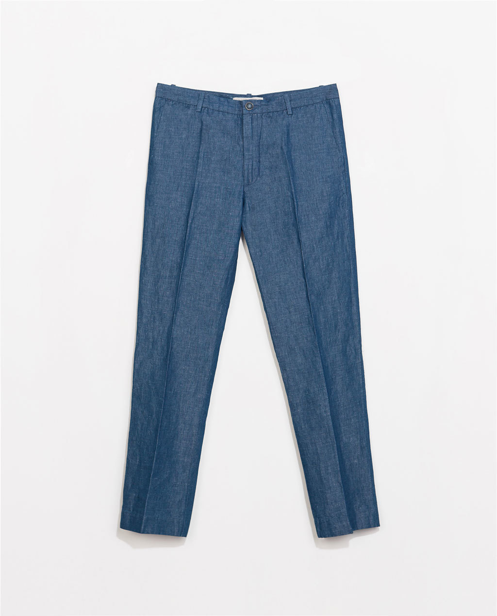 Denim Chino Trousers - pattern: plain; waist: mid/regular rise; predominant colour: royal blue; occasions: casual, creative work; length: ankle length; fibres: cotton - mix; texture group: denim; fit: straight leg; pattern type: fabric; style: standard; season: s/s 2014