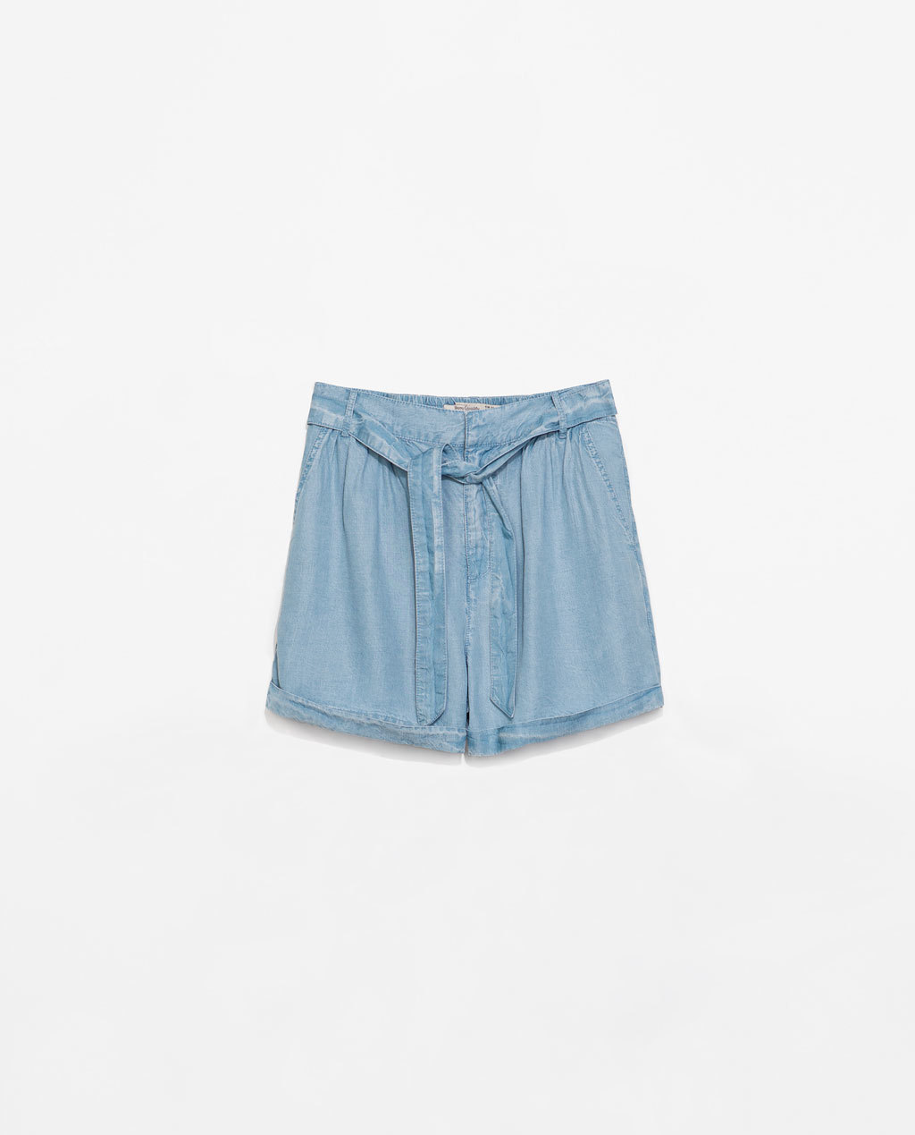 Shorts With Belt - pattern: plain; waist: high rise; waist detail: belted waist/tie at waist/drawstring; predominant colour: denim; occasions: casual, holiday; fibres: cotton - 100%; texture group: cotton feel fabrics; pattern type: fabric; season: s/s 2014; style: denim; length: mid thigh shorts; fit: baggy