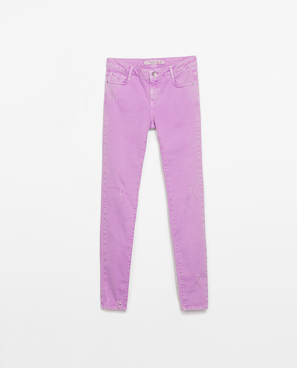 Low Waist Skinny Trousers - length: standard; pattern: plain; pocket detail: traditional 5 pocket; waist: mid/regular rise; predominant colour: lilac; occasions: casual, creative work; fibres: cotton - stretch; texture group: cotton feel fabrics; fit: skinny/tight leg; pattern type: fabric; style: standard; season: s/s 2014