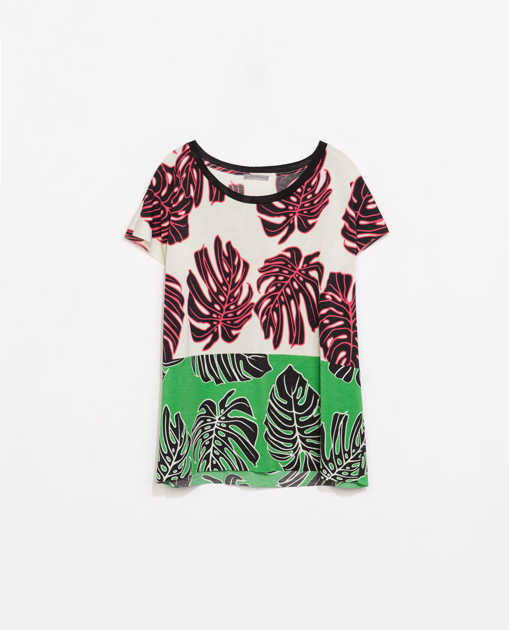 Two Tone Printed T Shirt - neckline: round neck; style: t-shirt; occasions: casual, holiday; length: standard; fibres: polyester/polyamide - stretch; fit: loose; predominant colour: multicoloured; sleeve length: short sleeve; sleeve style: standard; pattern type: fabric; pattern size: standard; pattern: florals; texture group: jersey - stretchy/drapey; season: s/s 2014; multicoloured: multicoloured