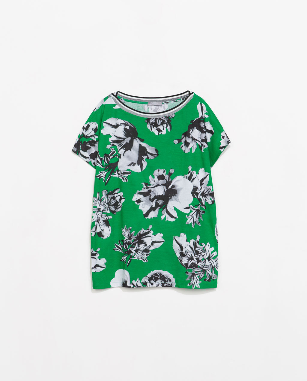 Printed T Shirt - neckline: slash/boat neckline; style: t-shirt; secondary colour: white; predominant colour: emerald green; occasions: casual, creative work; length: standard; fibres: cotton - 100%; fit: loose; sleeve length: short sleeve; sleeve style: standard; pattern type: fabric; pattern: florals; texture group: jersey - stretchy/drapey; season: s/s 2014; pattern size: big & busy (top)