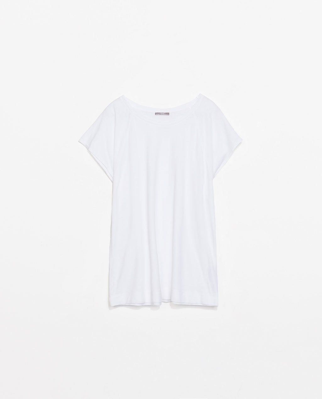 Raglan Sleeve T Shirt - neckline: round neck; pattern: plain; style: t-shirt; predominant colour: white; occasions: casual; length: standard; fibres: cotton - 100%; fit: loose; sleeve length: short sleeve; sleeve style: standard; pattern type: fabric; texture group: jersey - stretchy/drapey; season: s/s 2014