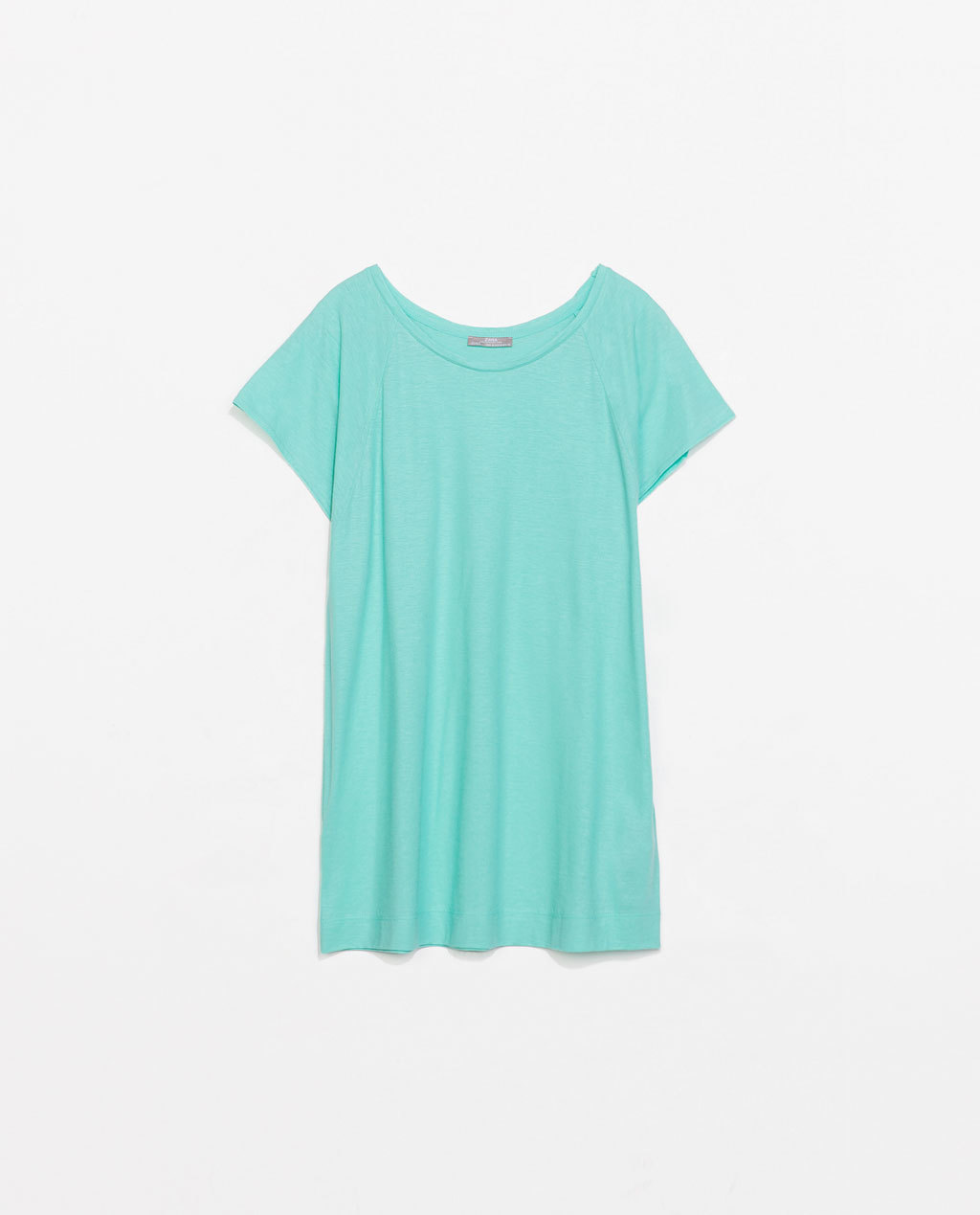 Raglan Sleeve T Shirt - neckline: round neck; pattern: plain; length: below the bottom; style: t-shirt; predominant colour: turquoise; occasions: casual, holiday; fibres: cotton - 100%; fit: loose; sleeve length: short sleeve; sleeve style: standard; pattern type: fabric; texture group: jersey - stretchy/drapey; season: s/s 2014