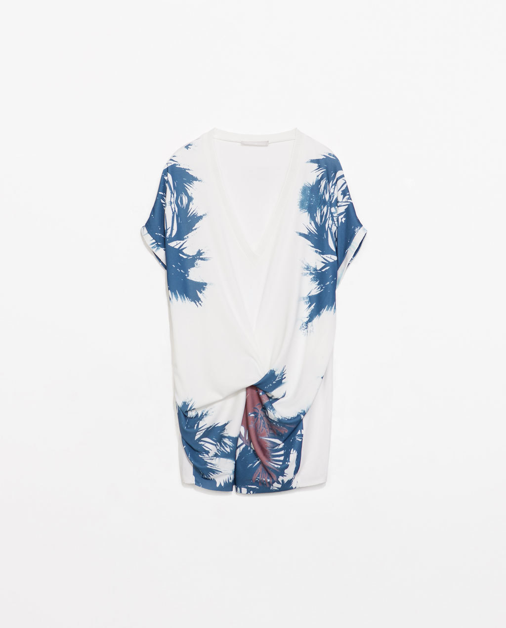 Palm Tree Print Tie T Shirt - neckline: low v-neck; sleeve style: dolman/batwing; length: below the bottom; style: t-shirt; predominant colour: white; secondary colour: royal blue; occasions: casual, holiday; fibres: polyester/polyamide - stretch; fit: loose; sleeve length: short sleeve; pattern type: fabric; pattern size: standard; pattern: patterned/print; texture group: jersey - stretchy/drapey; season: s/s 2014