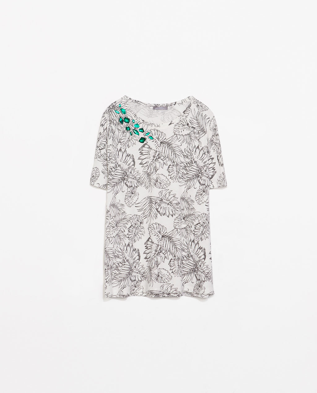 Printed T Shirt With Appliques - neckline: round neck; style: t-shirt; secondary colour: white; predominant colour: black; occasions: casual; length: standard; fibres: cotton - mix; fit: loose; sleeve length: short sleeve; sleeve style: standard; pattern type: fabric; pattern: florals; texture group: jersey - stretchy/drapey; embellishment: jewels/stone; season: s/s 2014; pattern size: big & busy (top); wardrobe: highlight; embellishment location: neck