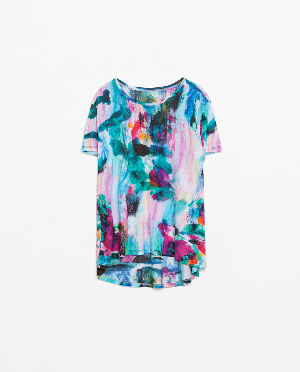 Multicolored Print T Shirt - neckline: round neck; style: t-shirt; occasions: casual, holiday; length: standard; fibres: viscose/rayon - 100%; fit: loose; predominant colour: multicoloured; sleeve length: short sleeve; sleeve style: standard; pattern type: fabric; pattern: florals; texture group: jersey - stretchy/drapey; season: s/s 2014; pattern size: big & busy (top); multicoloured: multicoloured