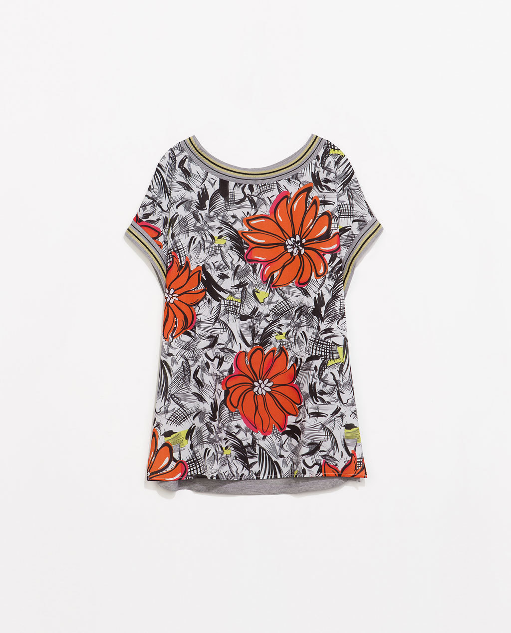 Flower Print T Shirt - neckline: round neck; length: below the bottom; style: t-shirt; predominant colour: true red; secondary colour: mid grey; occasions: casual, holiday; fibres: polyester/polyamide - 100%; fit: loose; back detail: longer hem at back than at front; sleeve length: short sleeve; sleeve style: standard; pattern type: fabric; pattern: florals; texture group: other - light to midweight; season: s/s 2014; pattern size: big & busy (top)