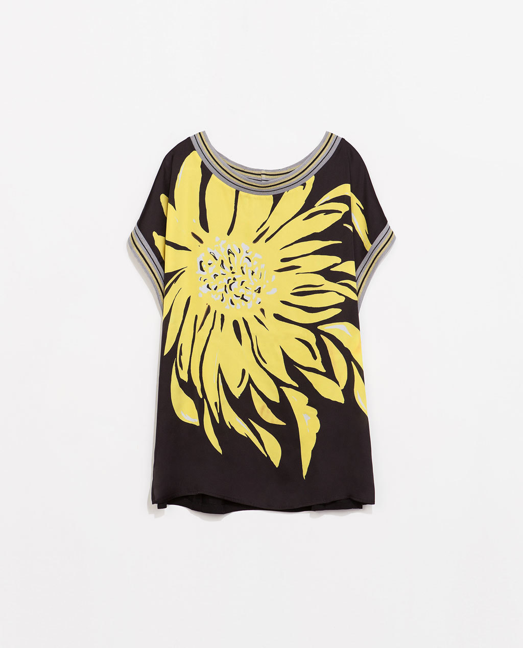 Flower Print T Shirt - neckline: round neck; length: below the bottom; style: t-shirt; predominant colour: yellow; secondary colour: black; occasions: casual, holiday, creative work; fibres: polyester/polyamide - 100%; fit: loose; back detail: longer hem at back than at front; sleeve length: short sleeve; sleeve style: standard; pattern type: fabric; pattern: florals; texture group: other - light to midweight; season: s/s 2014; pattern size: big & busy (top)