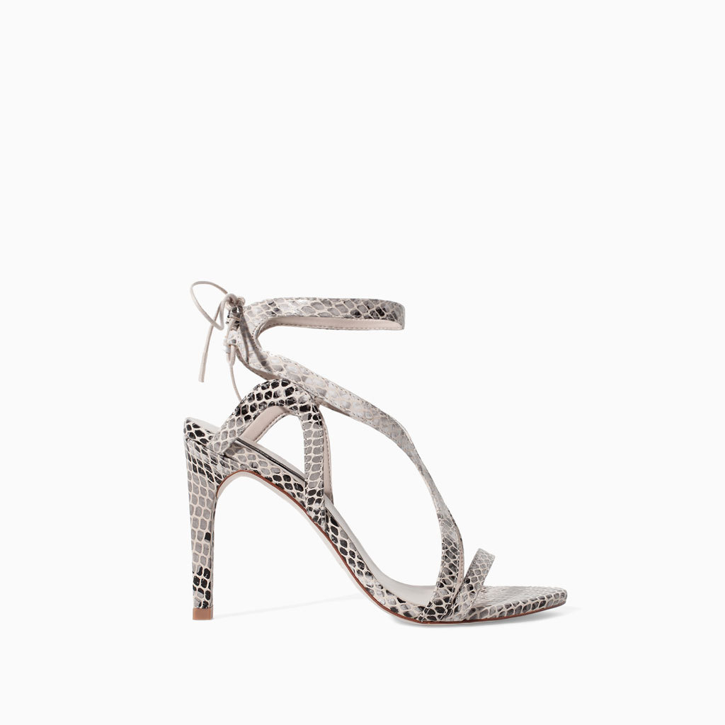 High Heel Snake Print Leather Sandal - secondary colour: ivory/cream; predominant colour: mid grey; occasions: evening, occasion, creative work; material: leather; heel height: high; ankle detail: ankle strap; heel: stiletto; toe: open toe/peeptoe; style: strappy; finish: plain; pattern: animal print; season: s/s 2014
