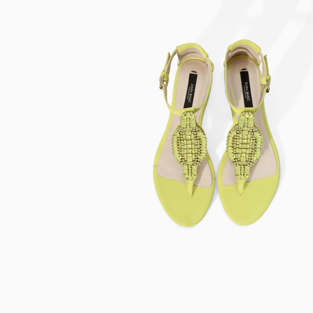 Flat Leather Sandal With Detail - predominant colour: yellow; occasions: casual, holiday; material: leather; heel height: flat; embellishment: jewels/stone; ankle detail: ankle strap; heel: standard; toe: toe thongs; style: standard; finish: fluorescent; pattern: plain; trends: hot brights, summer sparkle; season: s/s 2014