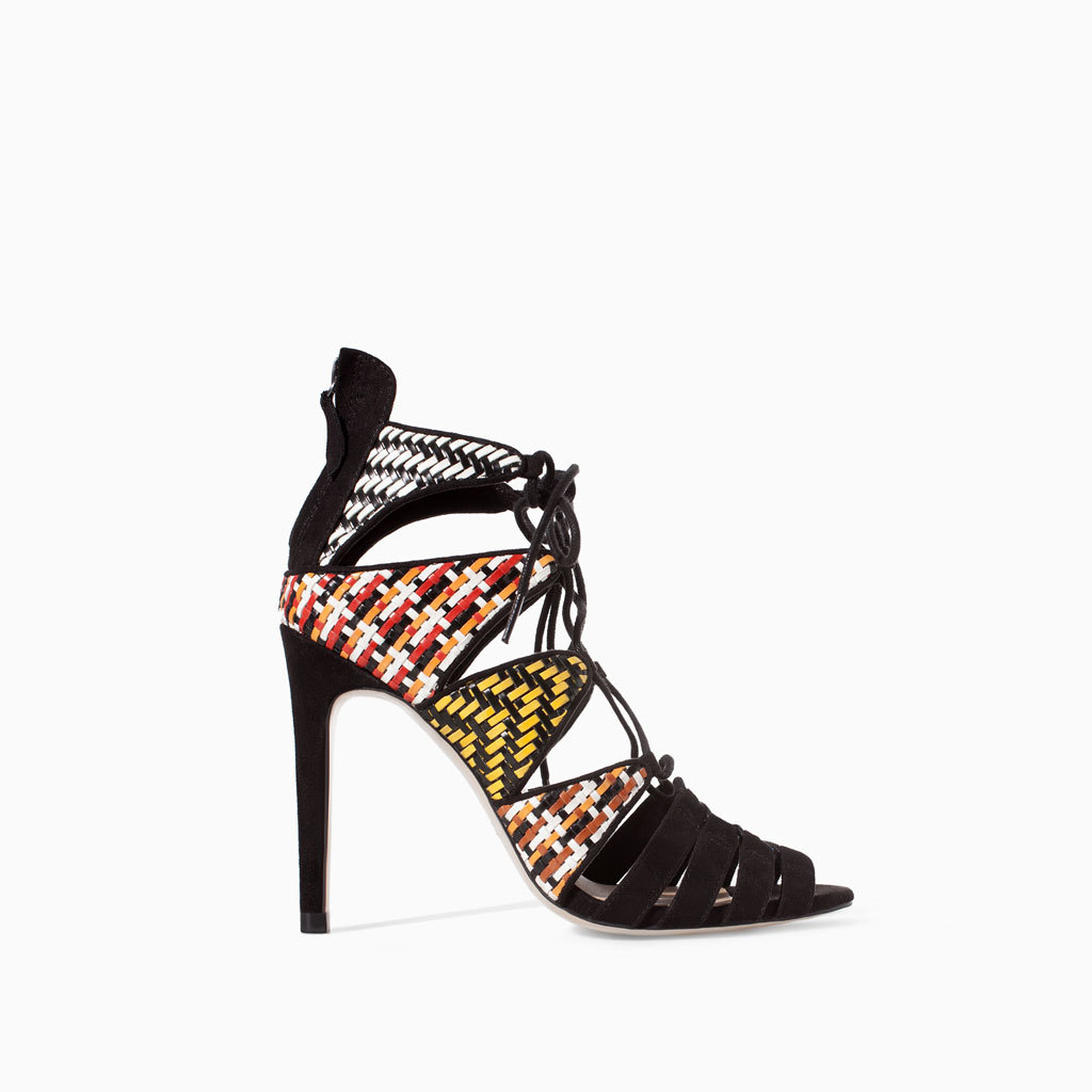 Woven Ankle Boot Sandal With High Heel - occasions: evening, occasion, creative work; predominant colour: multicoloured; material: faux leather; ankle detail: ankle strap; heel: stiletto; toe: open toe/peeptoe; style: strappy; finish: plain; pattern: patterned/print; heel height: very high; season: s/s 2014; multicoloured: multicoloured