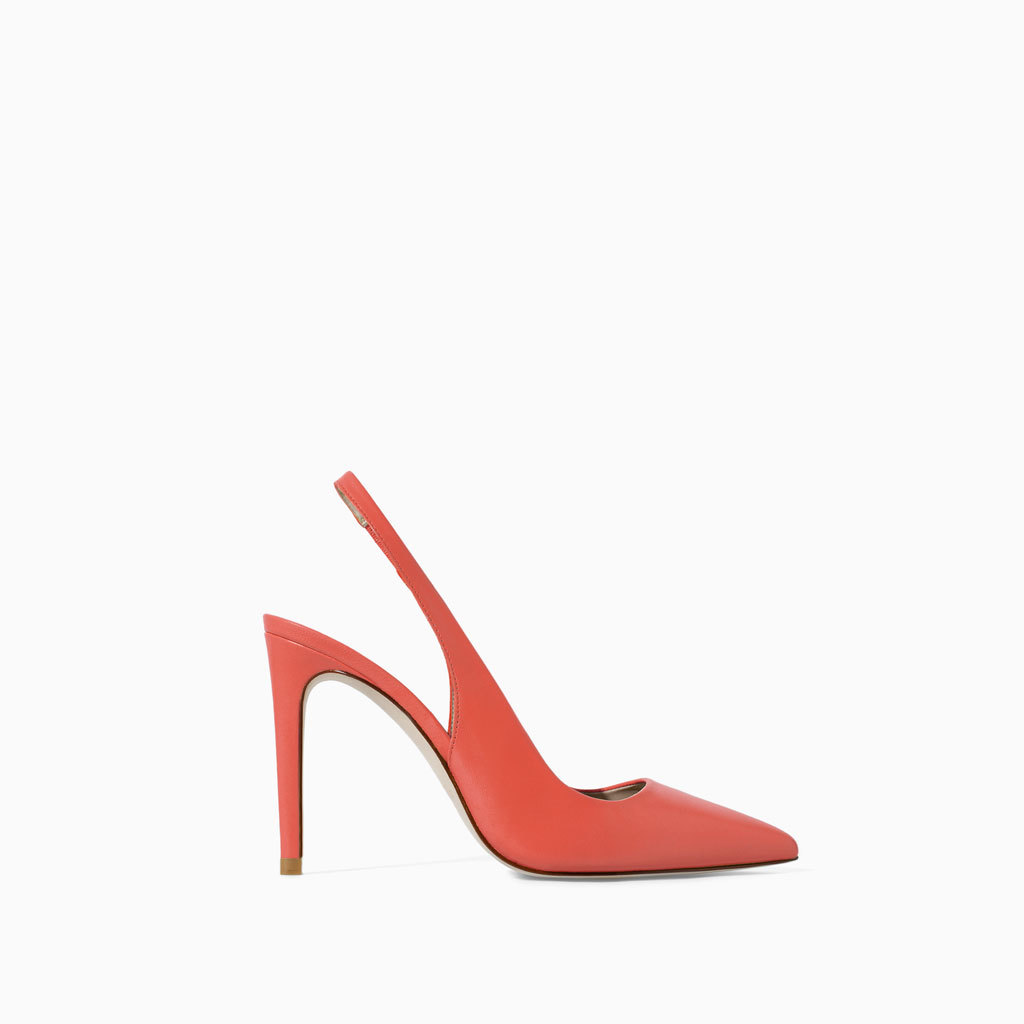 Leather Sling Back Shoes - predominant colour: coral; occasions: evening, occasion, creative work; material: leather; heel height: high; heel: stiletto; toe: pointed toe; style: slingbacks; finish: patent; pattern: plain; trends: hot brights; season: s/s 2014
