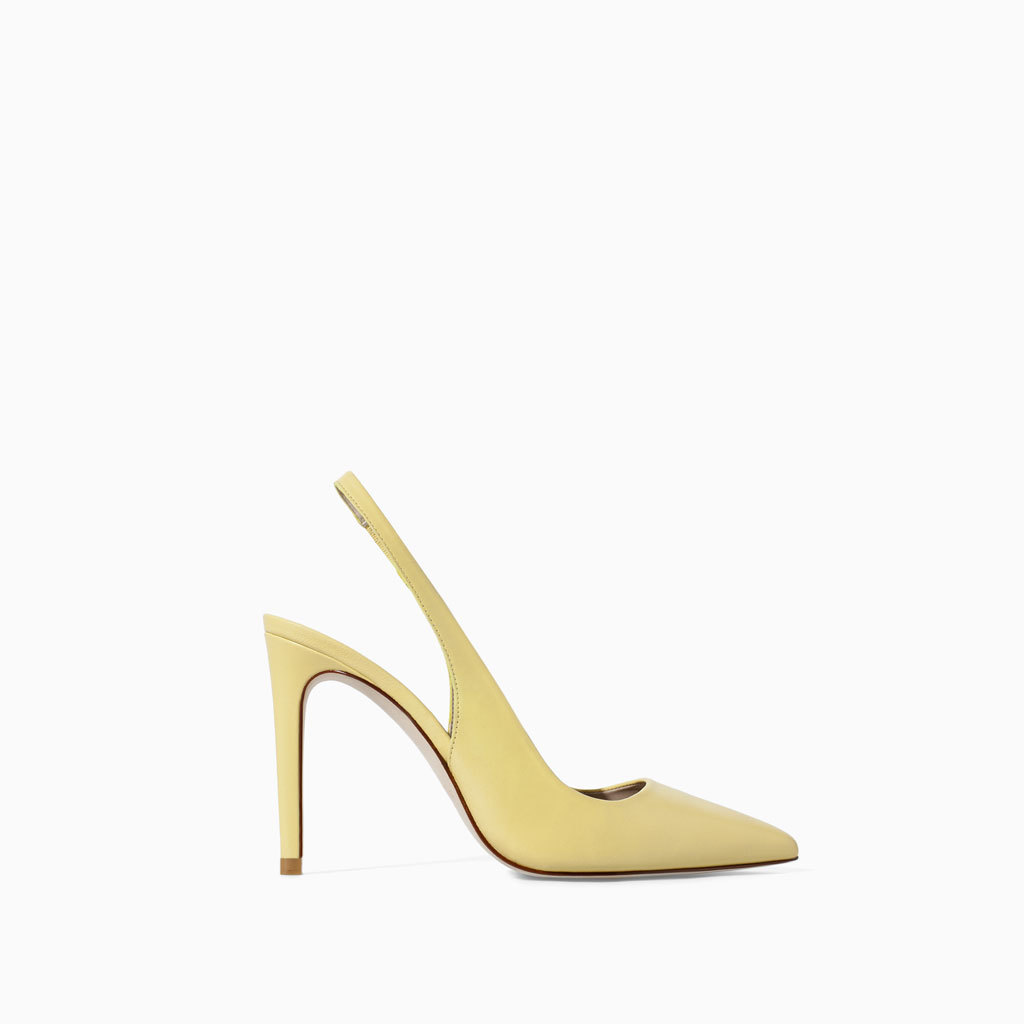 Leather Sling Back Shoes - predominant colour: primrose yellow; occasions: evening, occasion, creative work; material: leather; heel height: high; heel: stiletto; toe: pointed toe; style: slingbacks; finish: patent; pattern: plain; trends: sorbet shades; season: s/s 2014