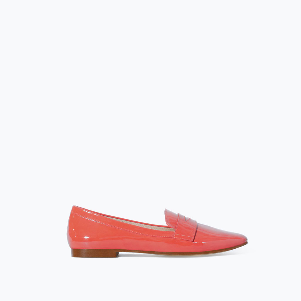 Soft Slipper - predominant colour: coral; occasions: casual, creative work; material: faux leather; heel height: flat; toe: round toe; style: loafers; finish: patent; pattern: plain; season: s/s 2014