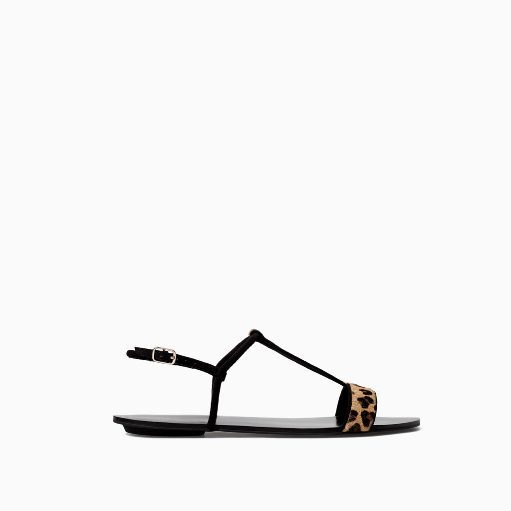Printed Leather Sandal With Edging - secondary colour: chocolate brown; predominant colour: black; occasions: casual, holiday; material: leather; heel height: flat; ankle detail: ankle strap; heel: standard; toe: open toe/peeptoe; style: standard; finish: plain; pattern: animal print; season: s/s 2014