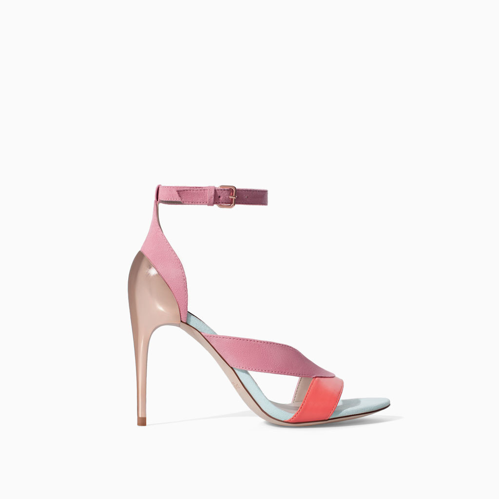 High Heel Strappy Sandals - predominant colour: pink; secondary colour: bright orange; occasions: evening, occasion, creative work; material: faux leather; ankle detail: ankle strap; heel: stiletto; toe: open toe/peeptoe; style: strappy; finish: plain; pattern: colourblock; heel height: very high; season: s/s 2014