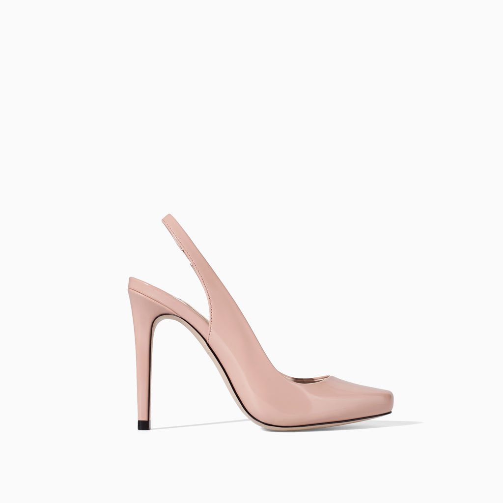 Sling Back Shoes With High Heel - predominant colour: blush; occasions: evening, occasion; material: faux leather; heel: stiletto; toe: pointed toe; style: slingbacks; finish: patent; pattern: plain; heel height: very high; trends: sorbet shades; season: s/s 2014