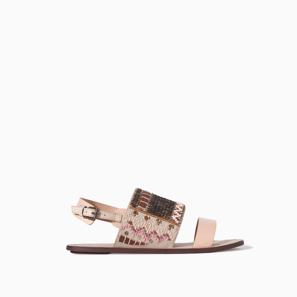 Ethnic Pattern Leather Sandal - predominant colour: ivory/cream; occasions: casual, holiday; material: leather; heel height: flat; embellishment: embroidered; ankle detail: ankle strap; heel: standard; toe: open toe/peeptoe; style: standard; finish: plain; pattern: patterned/print; trends: world traveller; season: s/s 2014