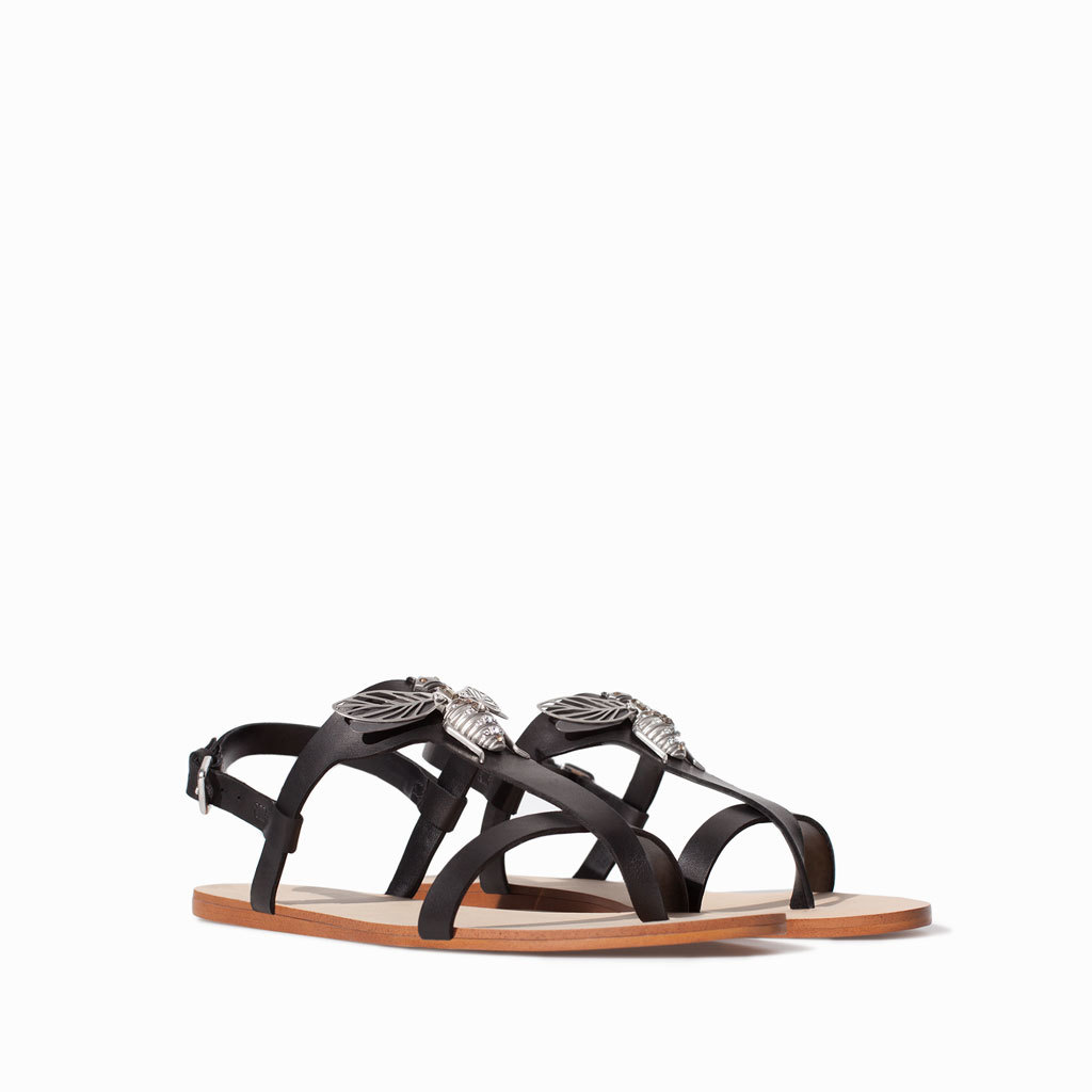 Flat Leather Sandal With Decorative Detail - secondary colour: silver; predominant colour: black; occasions: casual, holiday; material: leather; heel height: flat; ankle detail: ankle strap; heel: standard; toe: open toe/peeptoe; style: standard; finish: plain; pattern: plain; embellishment: chain/metal; season: s/s 2014