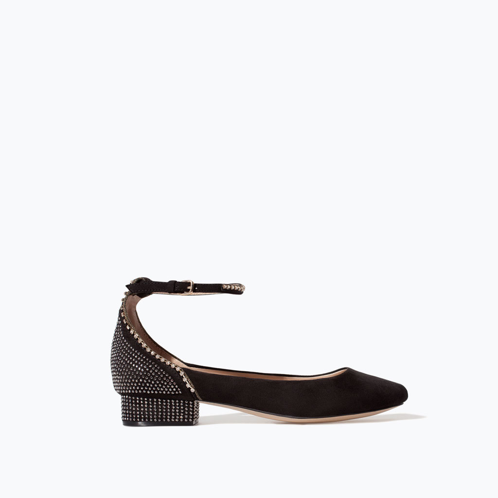 Ballerina With Shiny Ankle Strap - predominant colour: black; occasions: casual, creative work; material: faux leather; heel height: flat; embellishment: crystals/glass; ankle detail: ankle strap; toe: round toe; style: ballerinas / pumps; finish: plain; pattern: plain; season: s/s 2014
