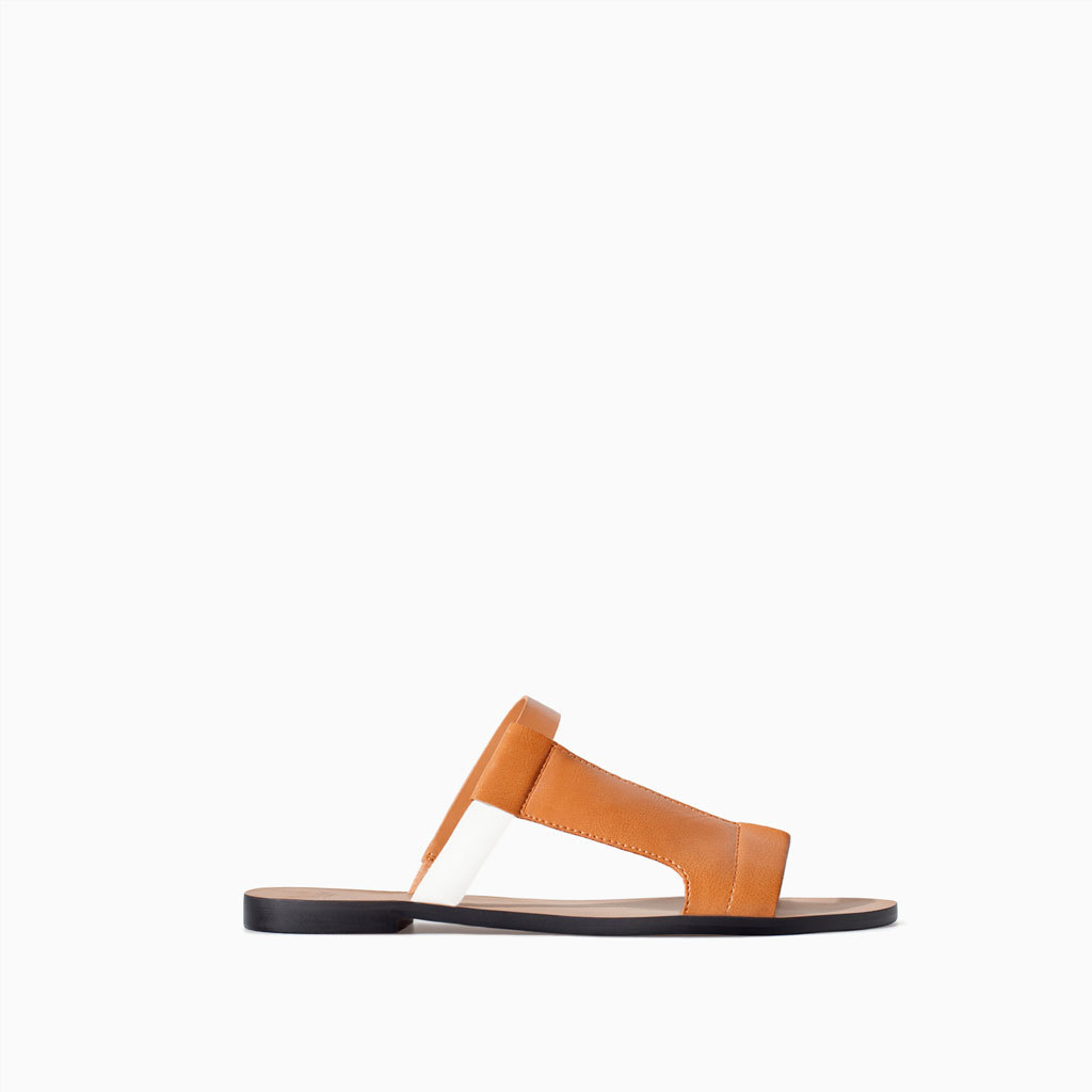 Flat Sandal With Asymmetric Straps - predominant colour: camel; occasions: casual, holiday; material: faux leather; heel height: flat; heel: standard; toe: open toe/peeptoe; style: slides; finish: plain; pattern: plain; season: s/s 2014
