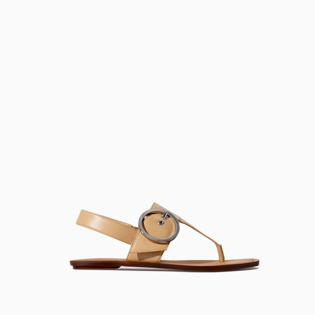 Leather Sandal With Buckle - predominant colour: camel; occasions: casual, holiday; material: leather; heel height: flat; embellishment: buckles; ankle detail: ankle strap; heel: standard; toe: toe thongs; style: standard; finish: plain; pattern: plain; season: s/s 2014