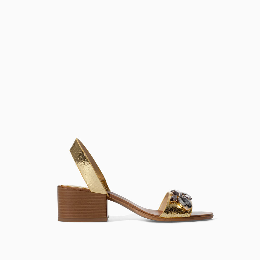 Medium Heel Leather Sandal - predominant colour: gold; occasions: casual, creative work; material: leather; heel height: mid; embellishment: jewels/stone; ankle detail: ankle strap; heel: block; toe: open toe/peeptoe; style: standard; finish: metallic; pattern: plain; season: s/s 2014