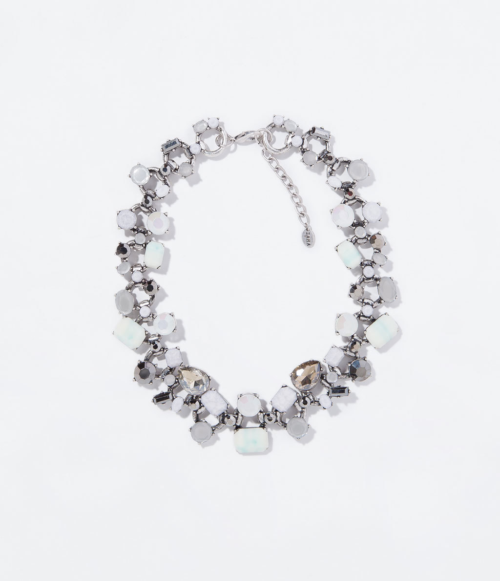 Chain And Stones Necklace - predominant colour: white; occasions: evening, occasion; length: short; size: standard; material: chain/metal; finish: plain; embellishment: jewels/stone; secondary colour: clear; style: bib/statement; season: s/s 2014