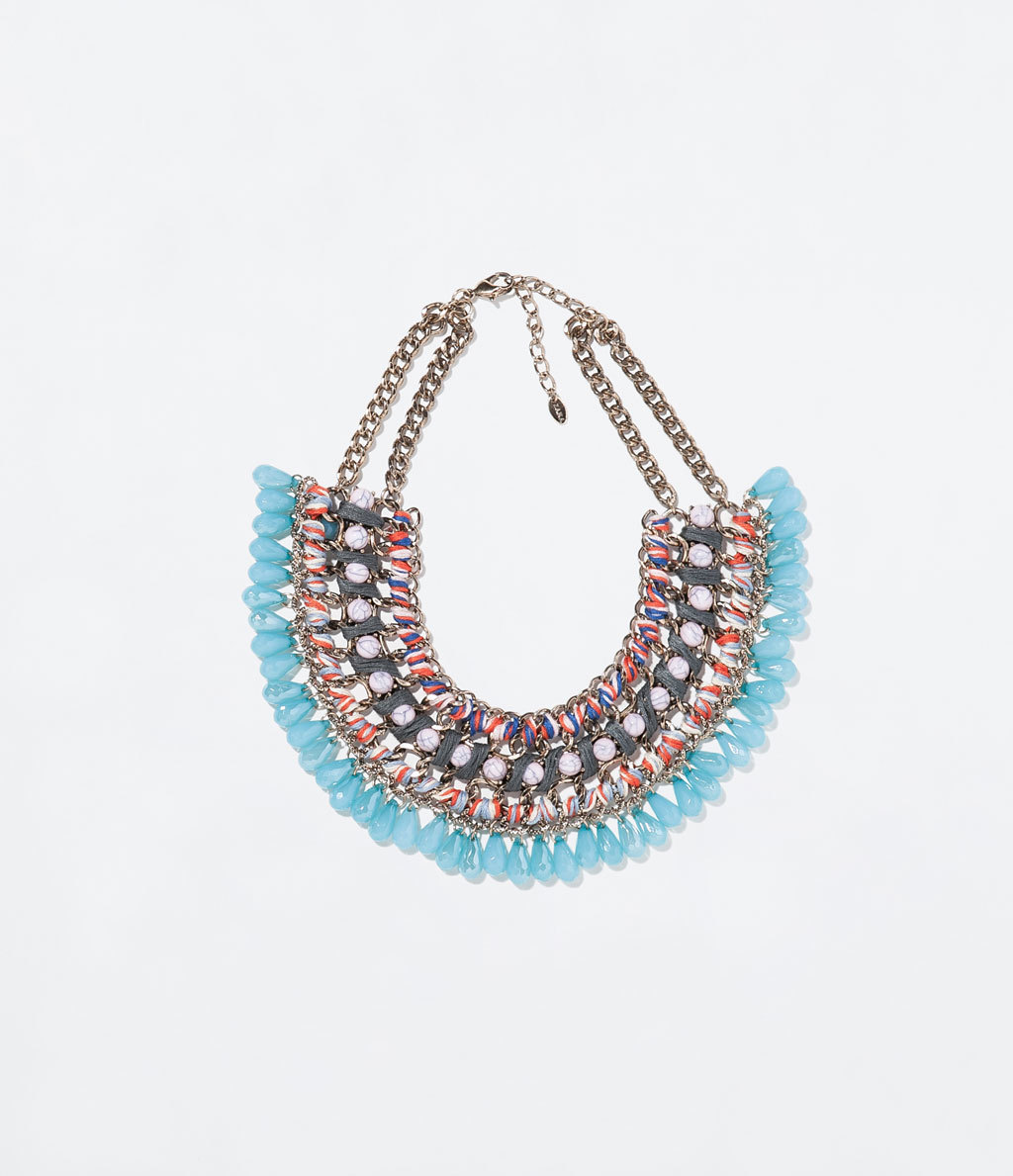 Diamante And Cord Necklace - occasions: evening, occasion; predominant colour: multicoloured; length: short; size: large/oversized; material: chain/metal; finish: plain; embellishment: beading; style: bib/statement; season: s/s 2014; multicoloured: multicoloured