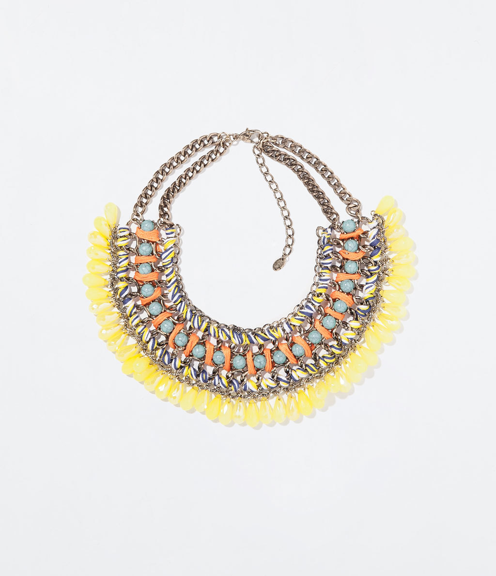 Diamante And Cord Necklace - occasions: evening, occasion, holiday; predominant colour: multicoloured; length: short; size: large/oversized; material: chain/metal; finish: plain; embellishment: beading; style: bib/statement; season: s/s 2014; multicoloured: multicoloured