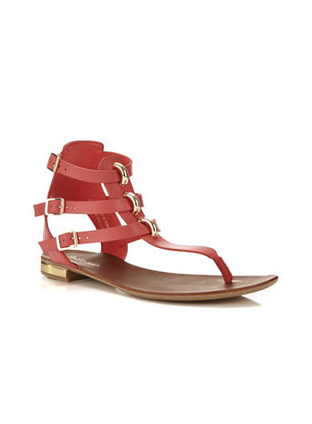 Flyaway Flat Sandal - predominant colour: terracotta; occasions: casual, holiday; material: leather; heel height: flat; heel: standard; toe: toe thongs; style: standard; finish: plain; pattern: plain; embellishment: chain/metal; season: s/s 2014