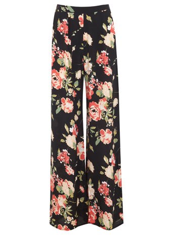 Floral Wide Leg Trouser - length: standard; style: palazzo; waist: high rise; secondary colour: coral; predominant colour: black; occasions: casual, evening; fibres: polyester/polyamide - 100%; fit: wide leg; pattern type: fabric; pattern: florals; texture group: woven light midweight; trends: furious florals; season: s/s 2014; pattern size: big & busy (bottom)