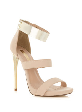 Casino High Sandal - predominant colour: nude; occasions: evening, occasion; material: faux leather; ankle detail: ankle strap; heel: stiletto; toe: open toe/peeptoe; style: strappy; finish: plain; pattern: plain; embellishment: chain/metal; heel height: very high; shoe detail: platform; trends: sorbet shades; season: s/s 2014